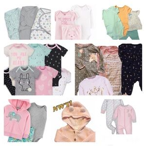 0-3 month 29 Pc Lot Newborn Girl Bundle EUC & NWT